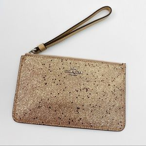 Coach wristlet gold sparkly pebbled NWT